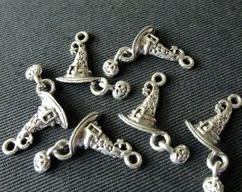 Destash (6) Witch Hat dangling charm Pumpkin Charms - for pendants, jewelry making, crafts, scrapbooking