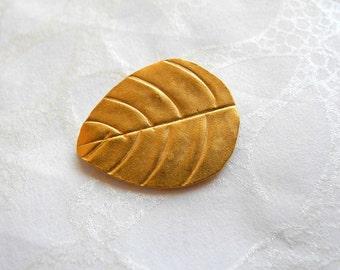 24k Gold Vermeil Leaf Bead Karen Hill Tribe Silver  Leaves Matte Bright 22mm 17mm