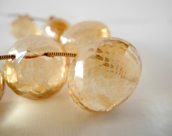 Citrine Mystic Quartz Light Gold Onion Cut Faceted Briolette Semiprecious Stone 19mm 17mm