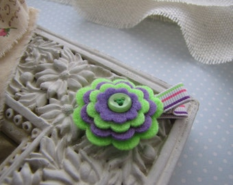Electric . felt flower . clippie . girls hair accessory . lime green purple