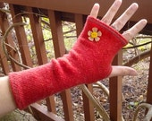 Fingerless gloves, arm warmers, txting gloves, upcycled, eco friendly, upcycled sweater in Burnt Orange