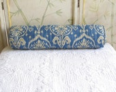 new size with zipper SINGLE  grand size 8x30  bolster pillow blue/tan ikat  includes insert