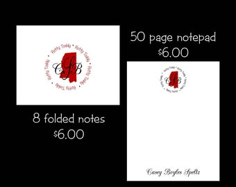 Personalized Mississippi Note cards or Note Pads...your choice