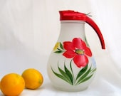 vintage pitcher.red.handpainted.farm kitchen.1940s.glass.dripout.from tessiemay