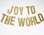 Joy to the World holiday banner (gold glitter) - stephlovesben
