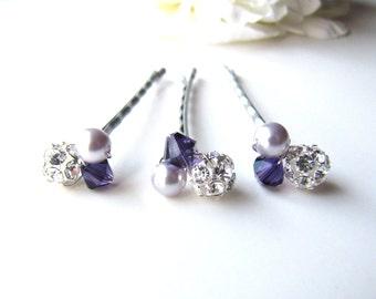 Purple Hair Pins, Swarovski Crystal and Pearl Clusters