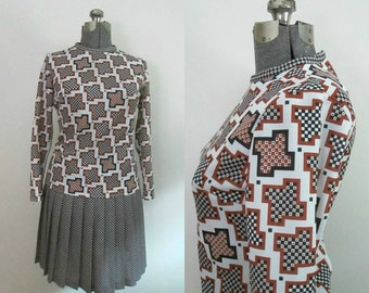 Geometric Print Secretary Dress Vintage 1960s Drop Waisted Pleated Mad Men Secretary