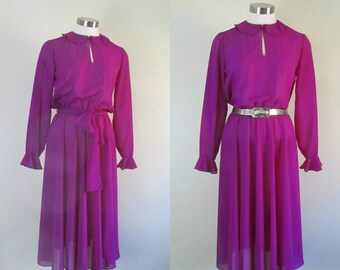 1970s Vintage Sheer Magenta Dress Sophisticated Feminine Flirt