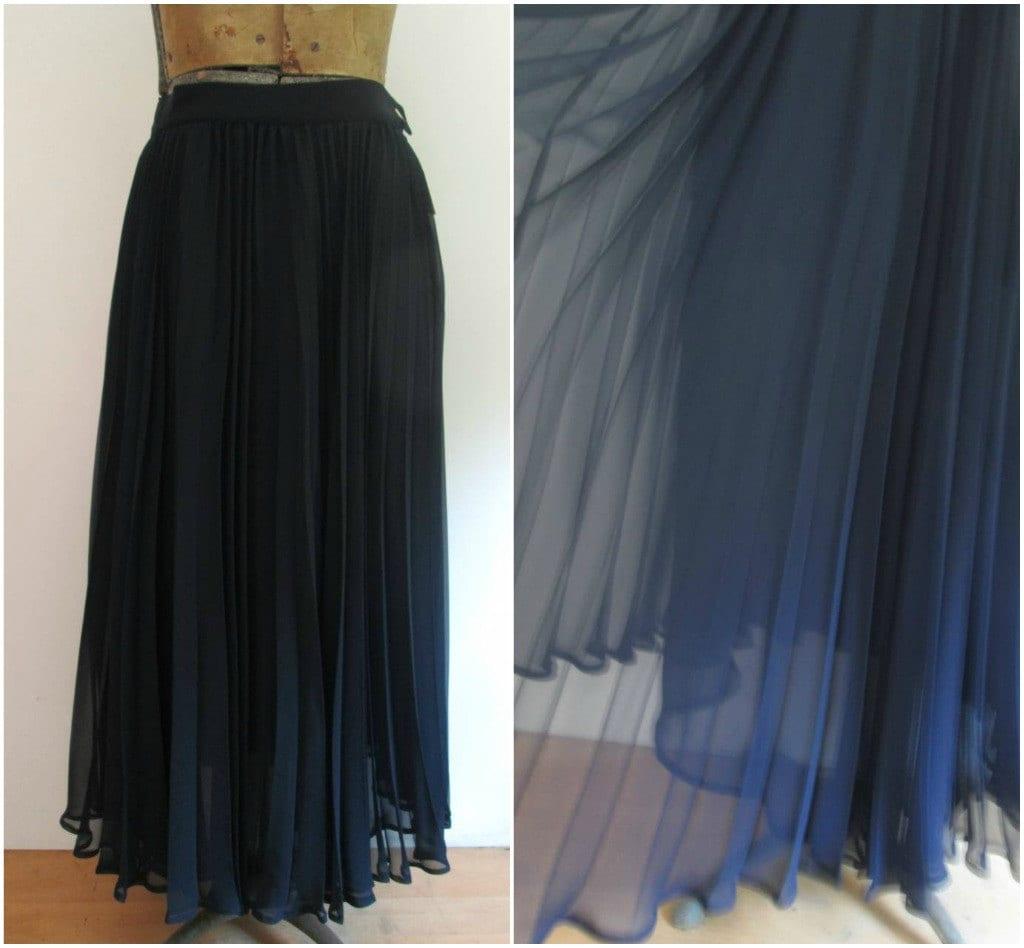 chiffon pleated skirt midi maxi navy blue by rileybellavintage