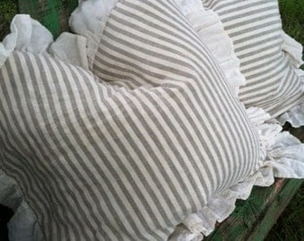 Natural Flax and Cream Stripe Washed Linen Euro Shams-One Pair-Ready to Ship Today-Ruffled Euro Shams-Linen Stripe Pillows