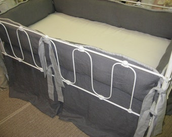 Grey Linen Crib Bedding-Slate Grey-Light Grey-Tailored Nursery Bedding in Washed Grey Linen