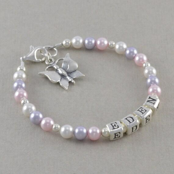 little girls name bracelet custom made by sixsistersbeadworks. Black Bedroom Furniture Sets. Home Design Ideas
