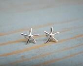 Silver Starfish Earrings , Starfish Stud Earring , Sterling Silver , Stocking Stuffer , Ocean , Nautical Jewelry