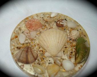 1970s Resined Seashell Trivet.