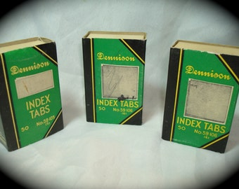 1950s 1960s Dennison Index Tabs in the box.