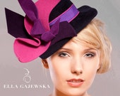 Reserved for missliz22 - Plum and Navy Felt Top Hat - Fascinator and Bag Set - Hatinator Pink Purple Felt Oversized Bow All Year Round Hats