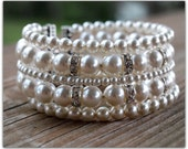 Swarovski Crystal Pearl and Rhinestone Cuff Style Bracelet