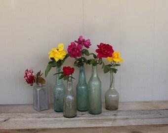 Vintage Glass Bottle, Turquoise