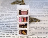 Miniature Skinny Bookcase Necklace Mini Book Case Charm (Made to Order)