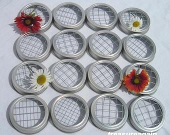 16 Flower Lids Color Choice Silver or Gold Mason Jar Flower Frog Lids