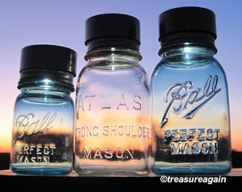 3 Mason Jar Solar Light Lids , DIY Outdoor Lanterns, No Mason Jars