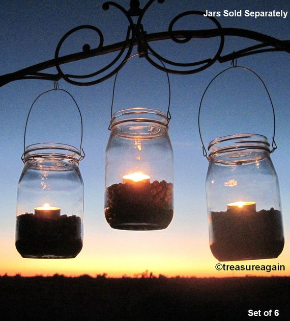 6 DIY Lanterns WIDE Mouth Mason Jar Hangers, Ball Jar Lantern Hangers Only, No Jars