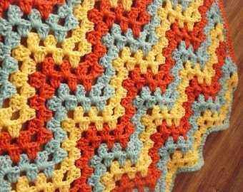 Chevron Baby Blanket, Ripple Baby Afghan, yellow, blue, orange, Granny Ripple