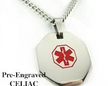 Pre-Engraved CELIAC DISEASE Medical Alert Necklace, Stainless Steel, P1