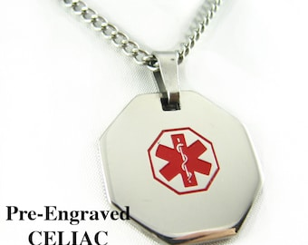 Pre-Engraved CELIAC DISEASE Medical Alert Necklace, Stainless Steel, P1