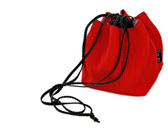 Vegan handbag red lightweight evening bag in small size - Japanese bag