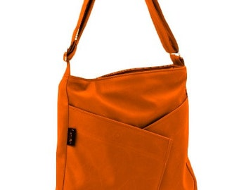 Orange Shoulder Bag Messenger bag Purse, Everyday Bag, Comfortable stylish purse, Vegan, Cruelty Free - Diagonal Origami