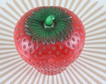 STRAWBERRY JAM, vintage 1950s Hazel Atlas Milk Glass Marmalade Jar, covered serving bowl