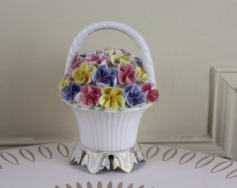 Basket Full of Pansies - vintage Ceramic Night Light - Cottage Chic - pink, purple, and yellow Flowers