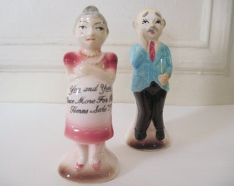 Knocked Up, vintage 1950s Pregnant Couple Salt and Pepper Shakers - S&P, mature parents, baby shower, humorous, expecting, funny, older
