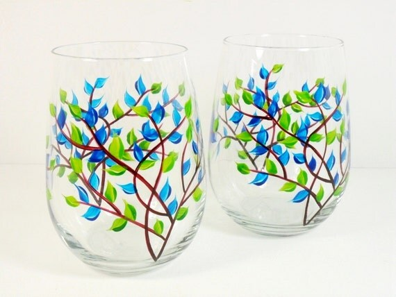 Stemless wine glasses hand painted cobalt blue set of 2 for Painted stemless wine glasses