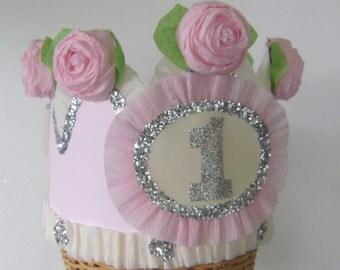 1st Birthday Crown, 1st birthday Hat, 1st party crown, pale pink birthday hat, baby birthday crown, customize