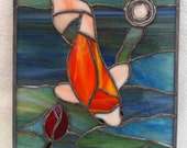 COI FISH stained glass panel - stained glass and coiled paper