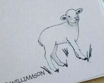 20 Lamb, Lamb Card, Lamb Note Cards Personalized Flat Note Cards with Envelopes and Original Art Print of Lamb Drawing