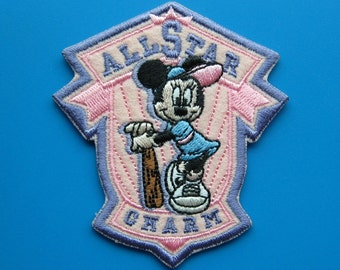 SALE~ Iron-on Embroidered Patch Minnie Mouse Baseball 3 inch