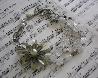 modern large metal layered flower brooch necklace-assemblage jewelry-statement necklace-chunky jewelry