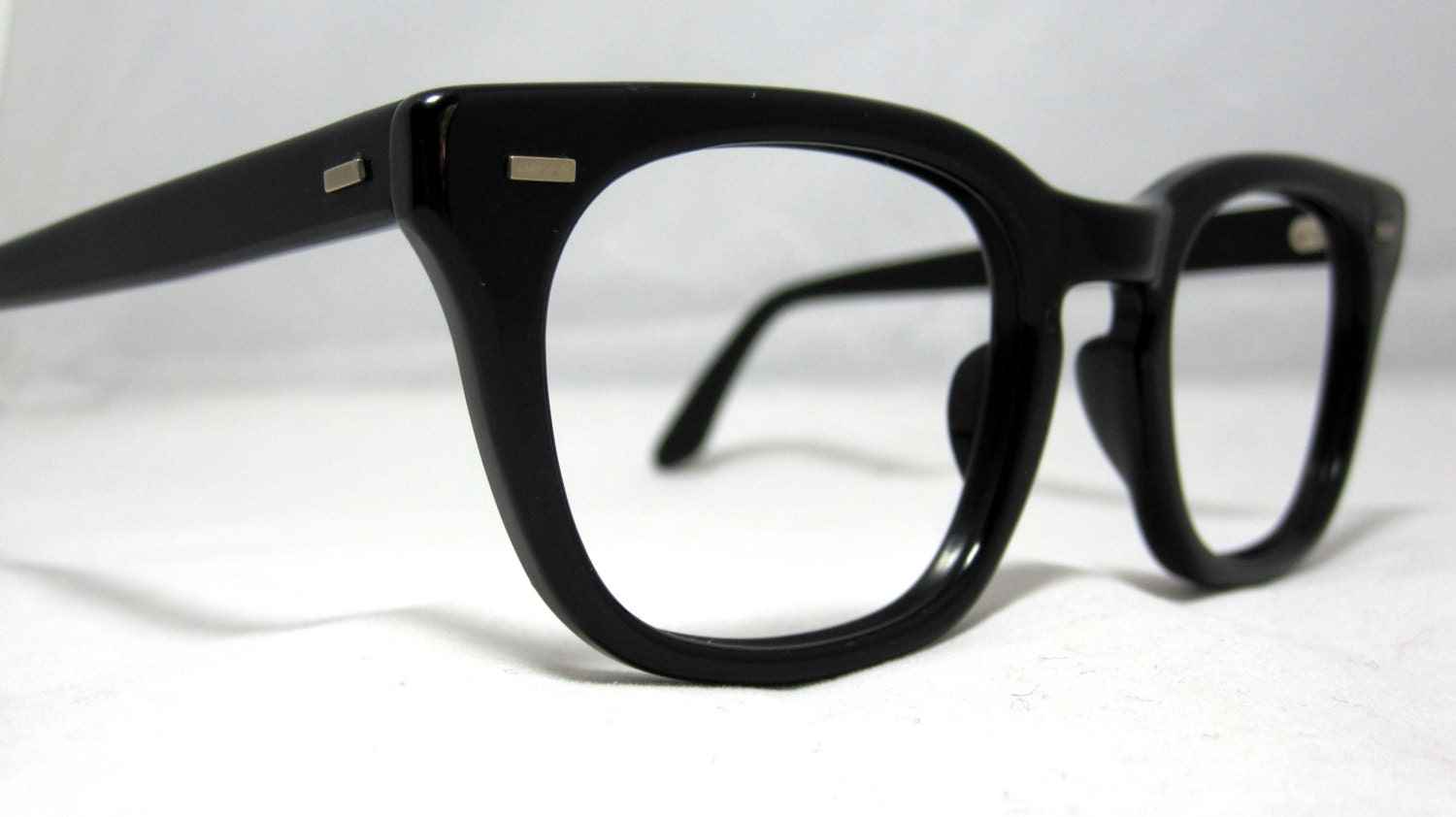 Black Frame Glasses For Guys : Vintage EyeGlasses Mens Optical Frames. Black Horn Rim