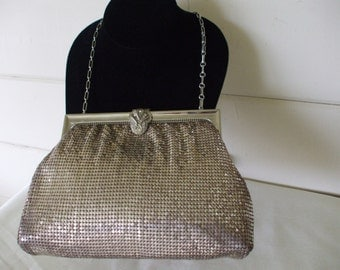 Whiting and Davis Art Deco Silver Mesh Bag, 1930s - 1950s,  Vintage,  Prom, Cruise,  Evening Wear