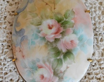 Victorian Hand Painted Floral Pin