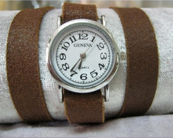 Leather Wrap Watch Bracelet distressed Leather Watch brown leather Watch bracelet Watch Women's wrist watch worn leather watch girls watches