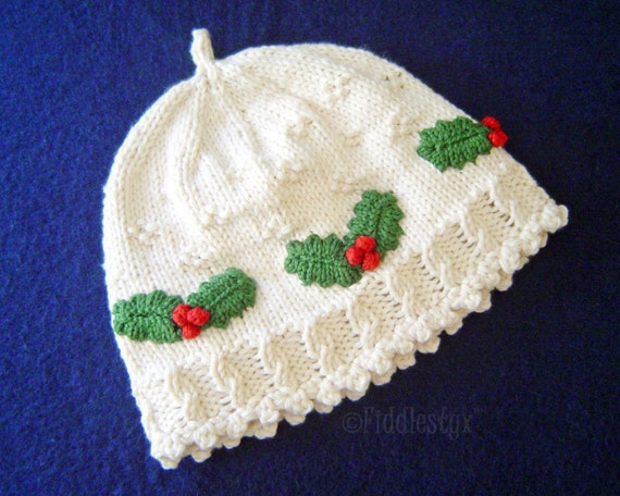 Knitted Sweater Patterns Free : Hat Knitting Pattern - Girls Christmas Hat Pattern - the HOLLY Hat (Newborn, ...