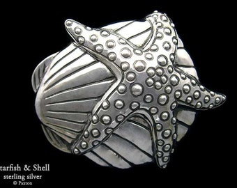 Starfish & Shell Belt Buckle Sterling Silver or Yellow Brass