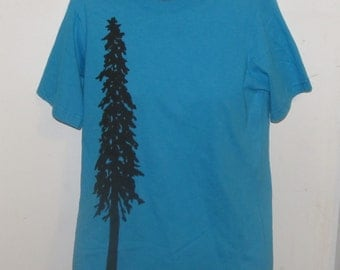 Tree TShirt - Douglas Fir Tree sillhouette Small Shirt, Light Blue Turquoise - tree forest redwood spruce pine conifer cascadia unisex women