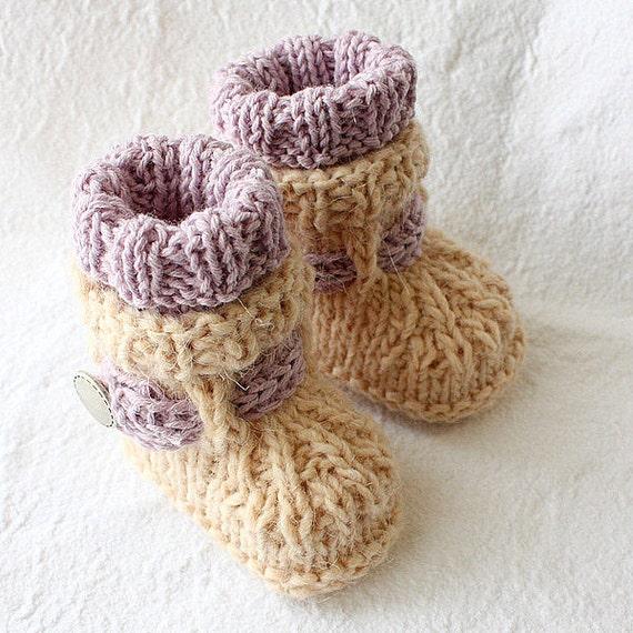 Knitting Pattern PDF file Alpaca Baby Boots sizes