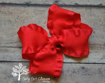 Red Double Ruffle Stackable Bow 4 Inch