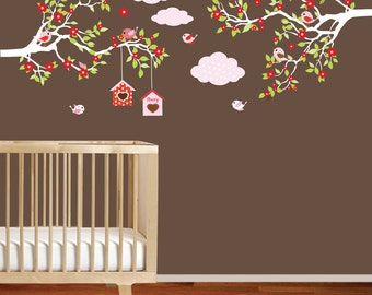 Baby nursery tree branch decal flowers clouds birds wall decal sticker